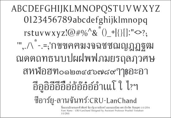 Font CRU-LanChand : ฟ้อนต์ ซีอาร์ยู-ลานจันทร์